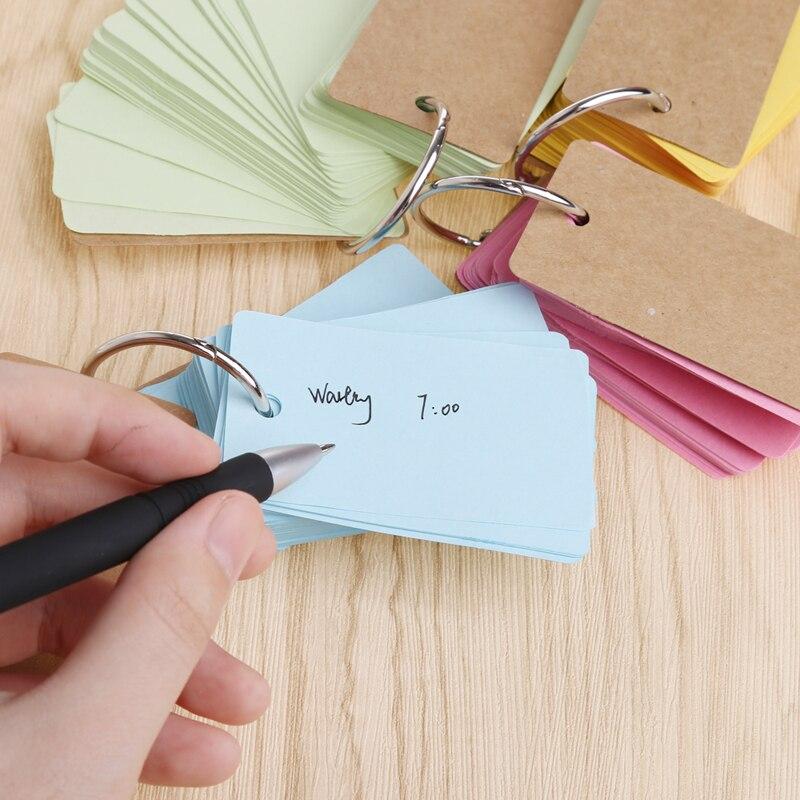 Kraft Paper Binder Ring Easy Flip Flash Cards Study Memo Pads DIY Stationery  Hyq