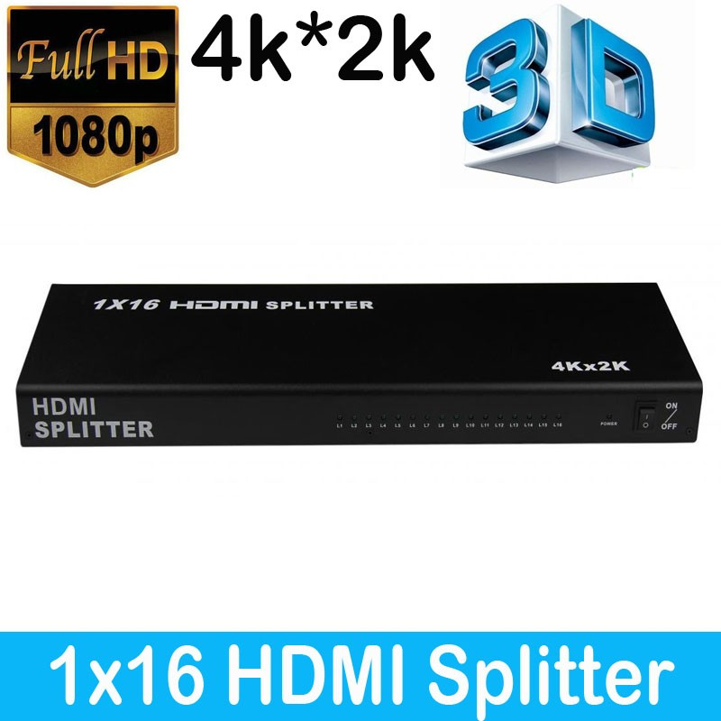 High Quality 1X16 HDMI Splitter V1.4 1080P HDCP 1 input 16 output 3D 4K HDMI Splitter Box For HDTV DVD PS3 STB top speed 1 to 4 hdmi splitter 1080p 4 ports output 1 4v 3d hdmi swicth 1 4 audio and video hdmi divider for ps3 tv dvd pc