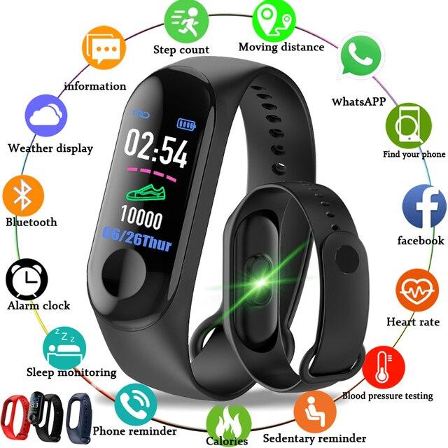 M3 Color IPS pantalla inteligente deporte pulsera presión rastreador de actividad inteligente pulsera para hombres, relojes de mujer