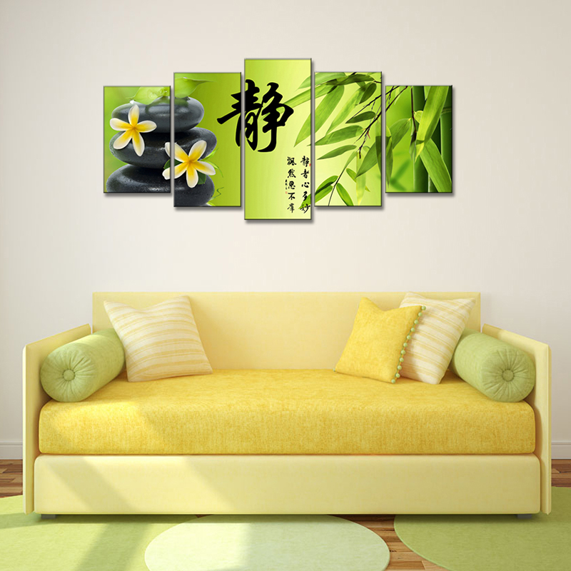 5 Pcs/Set Still Life Stone Bamboo Flower Paintings Print On Canvas ...