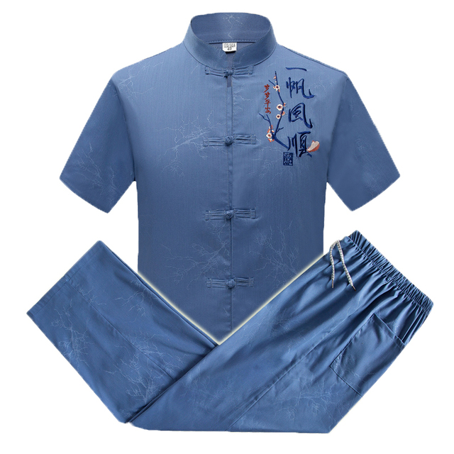 WAEOLSA Summer Men Slik 2pcs Pants Sets Gray Blue Orienal Twinset Man Tang Tunic Shirt And Trouser Suit Set Embroidery Ensemble
