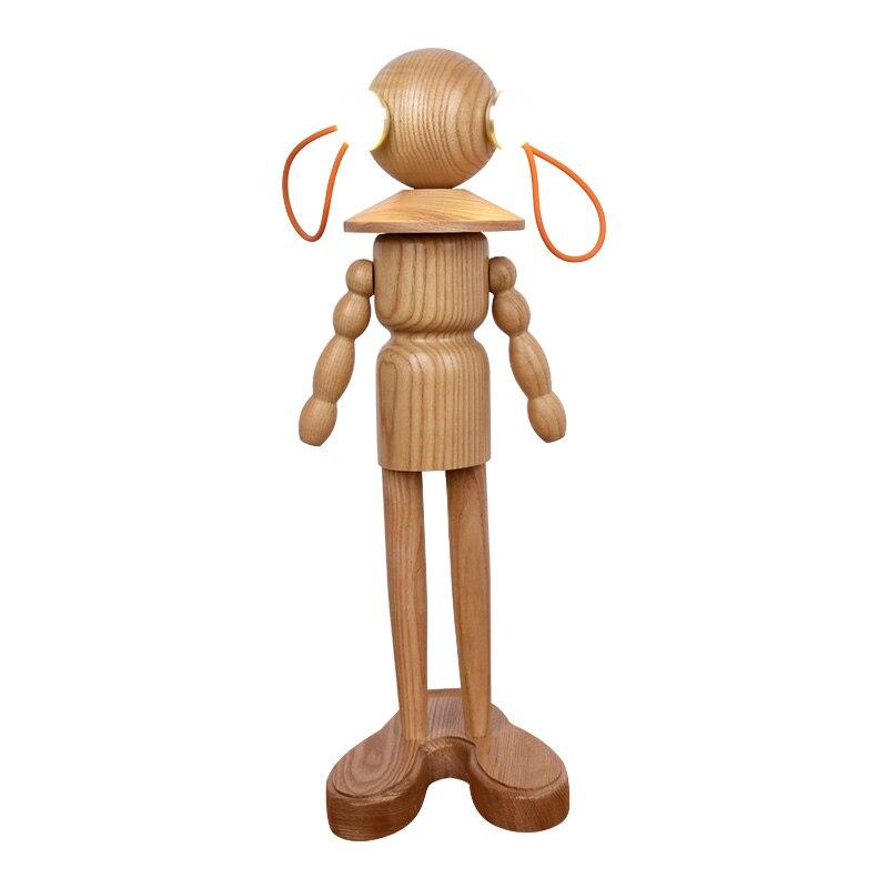 Светодиодный кукла настольная лампа твердой древесины светодиодный светильник прикроватная тумбочка для спальни Nordic исследование украше...