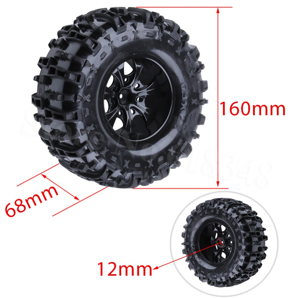 4Pcs 155mm RC Tires Wheel Rims Foam Inserts For 1:10 Monster Truck Tyres HSP HPI Traxxas Himoto Redcat Kyosho Tamiya Racing Losi 4pcs rc monster truck wheel rim tires kit for 1 10 traxxas tamiya hsp hpi kyosho rc trucks car rubber tyre parts