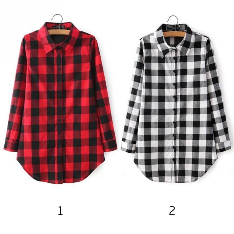 HTB1Z7uhJFXXXXbtXFXXq6xXFXXXu - Flannel Shirt Women Black And Red Ladie Top Casual Blouse