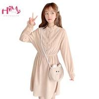 Japanese Sweet Ruffles Women Pink Dress Korean Vintage Long Sleeve Elastic Waist Corduroy Clothes A line Casual Female Dresses