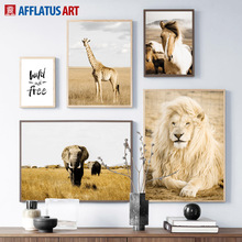 Golden Prairie Lion Elephant Giraffe Horse Wall Art Canvas Painting Nordic Posters And Prints Picture For Living Room Decor