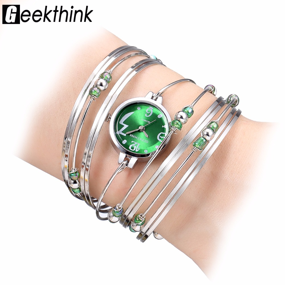GEEKTHINK Bohemian Style Luxury Brand Orologio da donna al quarzo Bracciale Ladies Casual Dress Steel Band Orologio femminile Girls Trending