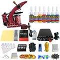 Solong Tattoo Nueva Principiante Kit de Tatuaje 1 Pro Machine Gun tip 7 colores juego de tintas de Alimentación Aguja Grips TK105-77