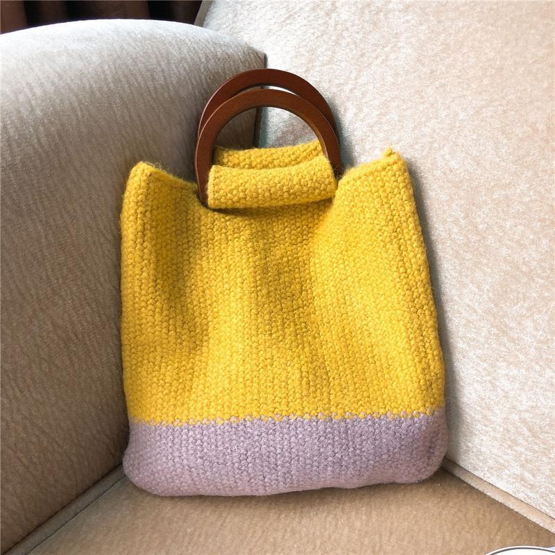 Comfortable Woolen Knitted Bag Woven Handbags Fashionable Simple Handbag Lady Shoulder Crochet Bag Storage Tote Top-Handle Bags crochet fringe sleeve open shoulder top