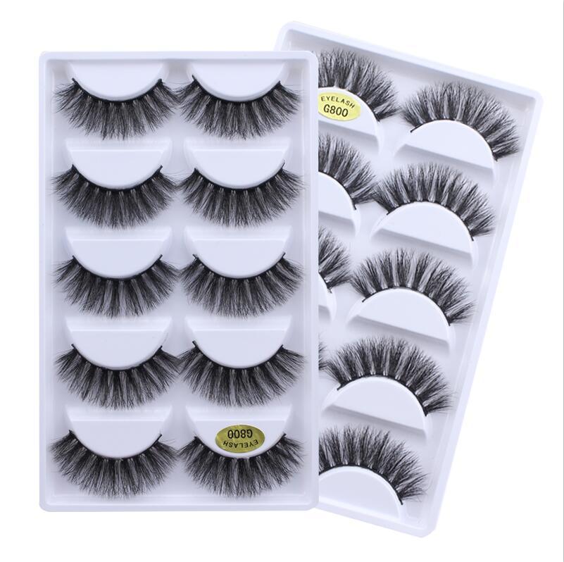 HBZGTLAD New 5 pairs natural false eyelashes fake lashes long makeup 3d mink lashes extension eyelash mink eyelashes for beauty