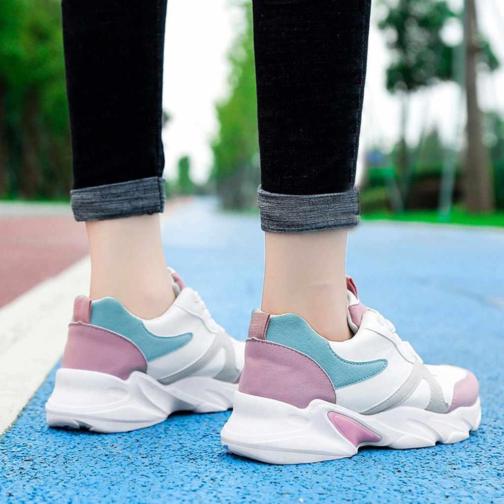 YOUYEDIAN Phụ Nữ Thời Trang Pha Trộn Màu Sắc Phẳng Thể Thao Chạy Mắt Cá Chân Toe Vòng Giản Dị Giày zapatos de tacon para mujer confort # g30
