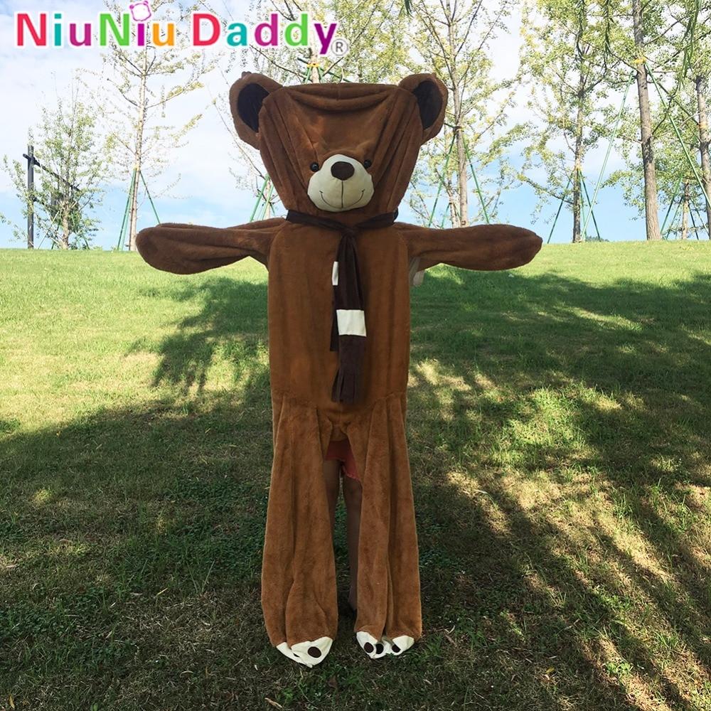 Hot Sale Niuniu Daddy Big Teddy Bear Skins Wearing Scarf Unstuffed
