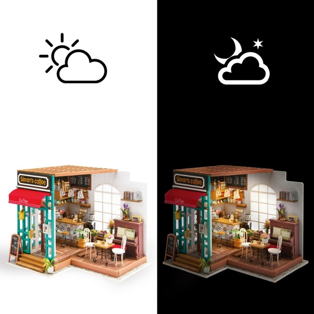 Robotime DIY Simon's Coffee with Furnitures Children Adult Miniature Wooden Doll House Model Building Kits Dollhouse Toys DG109