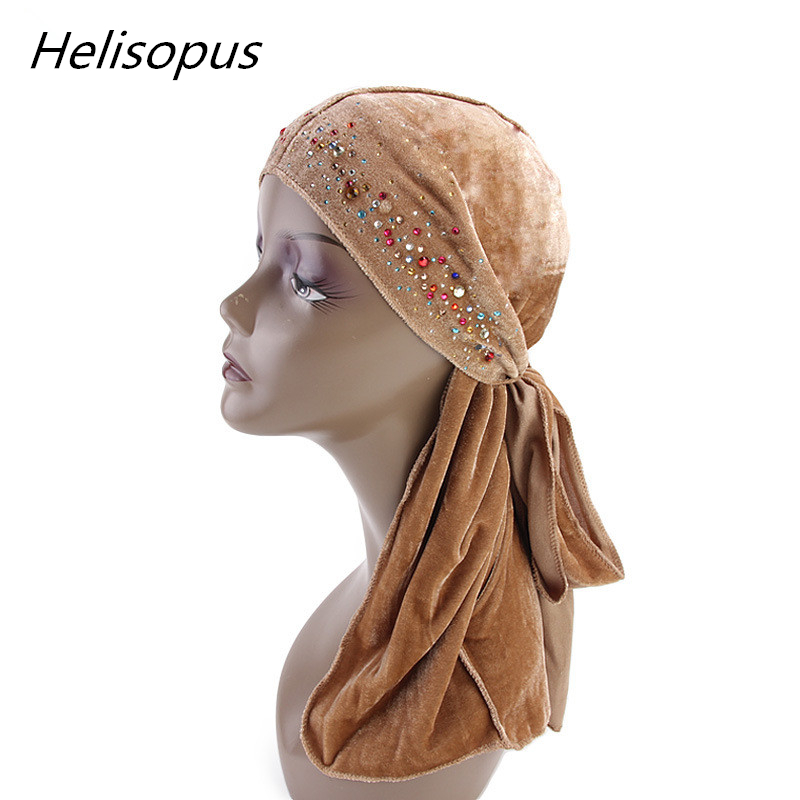 Helisopus 2019 Sparkly Durags Long Tail Pirate Cap Headwear Men Fashion Shiny Turban Headband New Headwrap Men Hair Accessories Colours Are Striking Men's Headbands Apparel Accessories