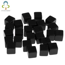 5Pcs/set Hot Glossy Dice Teaching Black Blank Dice Light Plate Can Be Screen Printing DIY Dice Square Angle 16mm GYH(China)