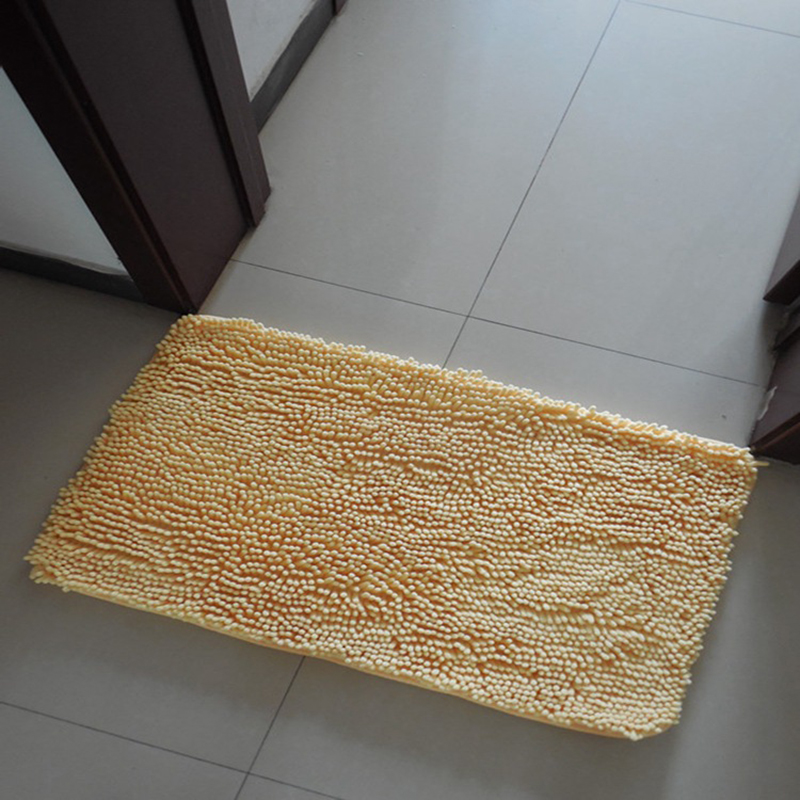 EHOMEBUY Carpet New Solid Color Chenille Stair Tread Mats Sold By 1 Piece Non Slip Beige Rectangle Self Adhesive Pad