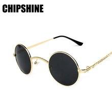 Pequeño Steampunk gafas de Sol Redondas Mujeres Gafas Con Caja de Metal UV400 Espejo Lindo Recubrimiento Grabado Templo Gafas De Sol Feminino