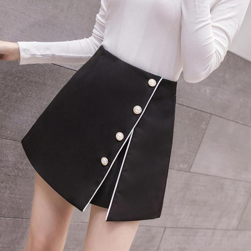 New Women High Waist   Shorts   Korean Fashion Irregular Single Breasted   Shorts   Skirts Spring Summer Casual Culottes