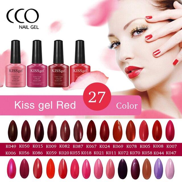 CCO Kiss Gel Nail Polish Red Long lasting Soak off LED UV Top and ...