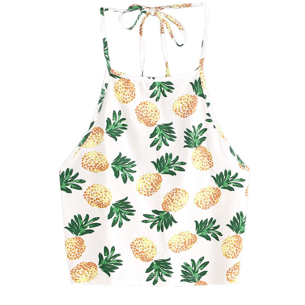 Crop Top Donne 2019 Giallo Cami Ananas Stampa Tank Top Sexy Di Estate Breve Halter Attaccatura Del Collo Tee Camicetta Tops Mujer2.8 -30