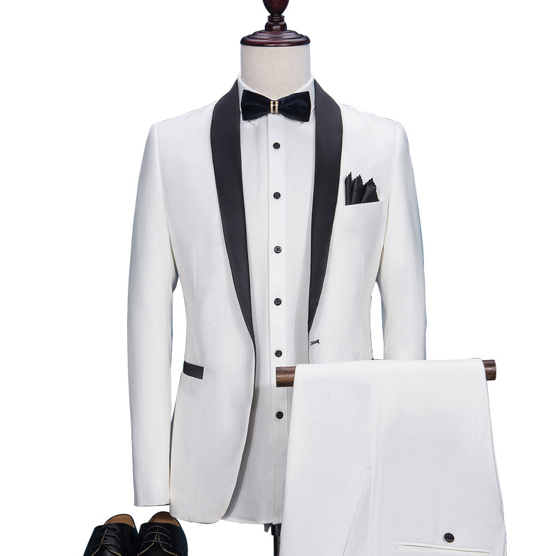 Loldeal White <font><b>Suit</b></font> <font><b>Men</b></font> Slim Fit Shawl Lapel <font><b>Wedding</b></font> Dress <font><b>Suits</b></font> for <font><b>Men</b></font> Event <font><b>2018</b></font> Plus Size <font><b>Terno</b></font> Masculino Solid 2 Pcs Tuxedo image