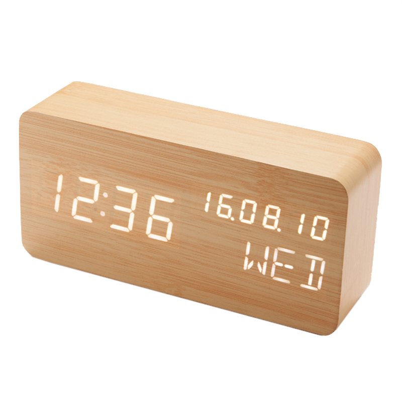 Wooden LED Alarm Clock Display Date+Time+Celsius/Fahrenheit Temperature Sound Control Function A Table Desktop Clocks image