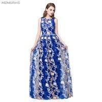 MZMSRHS 2017 New Arrival Long Royal Blue Long Evening Dresses Elegant Scoop Neck Soft Lace Sequin