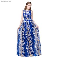 MZMSRHS 2017 New Arrival Long Royal Blue Long Evening Dresses Elegant Scoop Neck Soft Lace Sequin