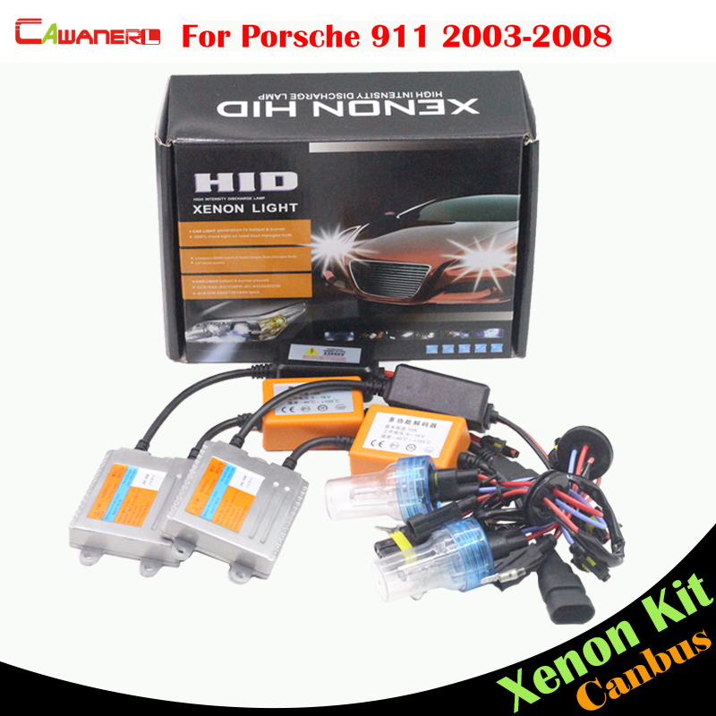 Cawanerl 55W Car No Error HID Xenon Kit Bulb AC Canbus Ballast 3000K-8000K Auto Headlight High Beam For Porsche 911 2003-2008