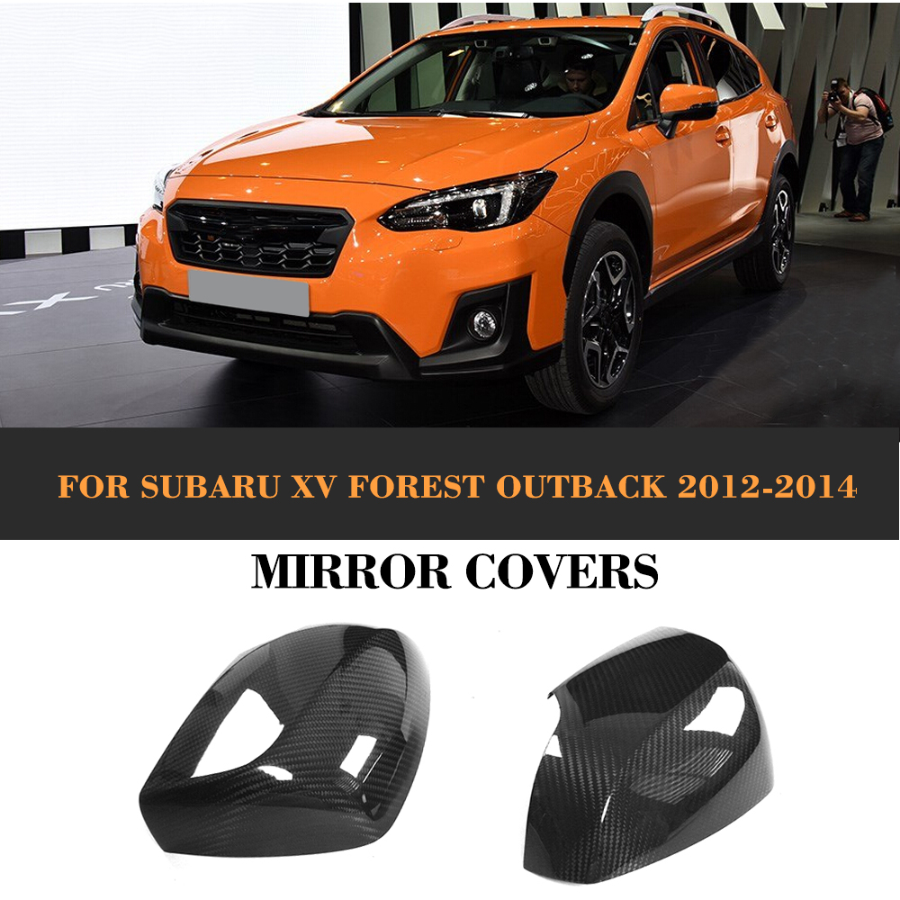 Carbon Fiber Add On Style Rearview Mirrors Caps Covers for Subaru XV Forester Outback 2012-2014 2PCS Car Styling for cadillac ats full add on style carbon fiber mirror covers 2014 2015