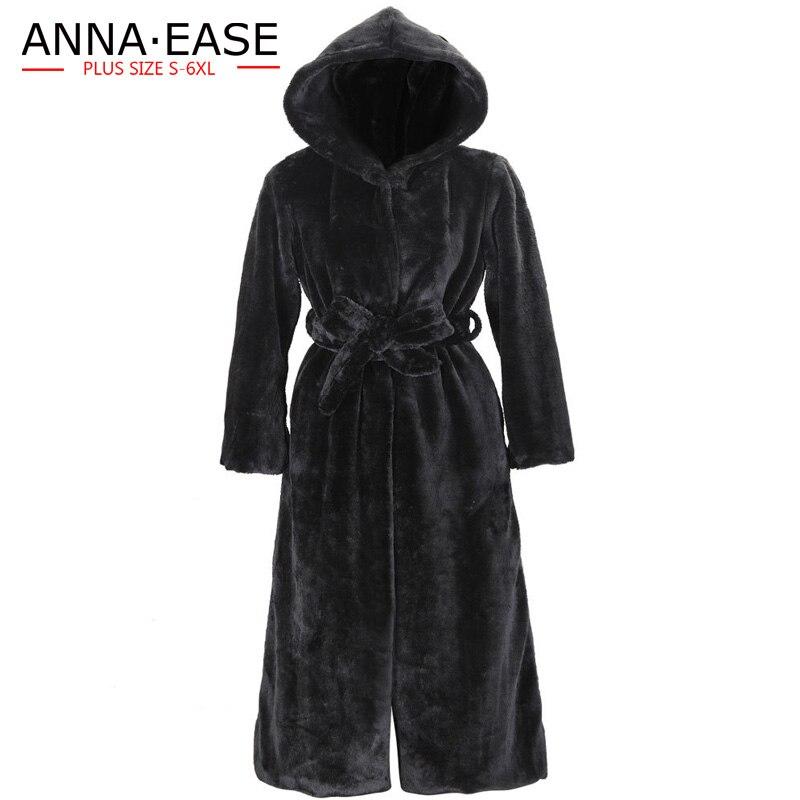 À D'hiver Chaud La Taille Manteaux Dames Femelle Fausse X Manteau Des Plus Faux long Capuchon Fourrure De En Noir Femmes xZwqH