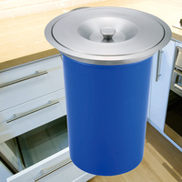 8L ABS Kitchen Countertop Bench Waste Trash Bin Bins Containers S S Lid Built In Shipping