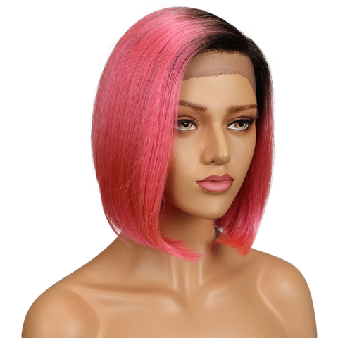 SLEEK Silky Straight Short Bob Lace Front Human Hair Wigs For Women Two Tone 2/Pink Color Middle Part Ombre Part Lace Wig Karachi