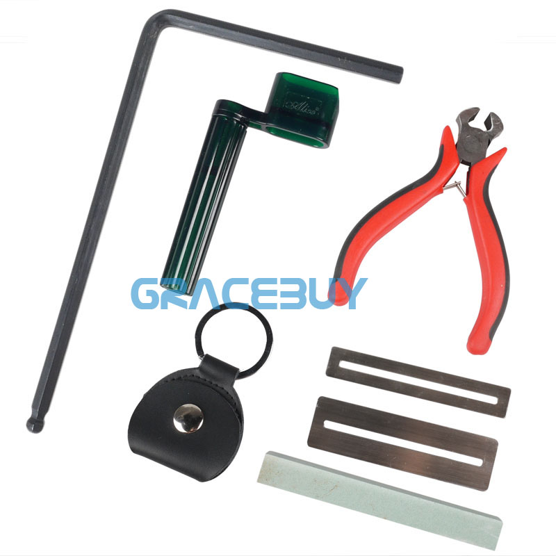6-in-1 Guitar Accessories Kit Tool String Winder Puller + Allen Wrench + String Nipper Cutter + Pick Bag + Fret Wire Sanding Set new guitar bass string cutter guitar tool scissors pliers nippers accessories