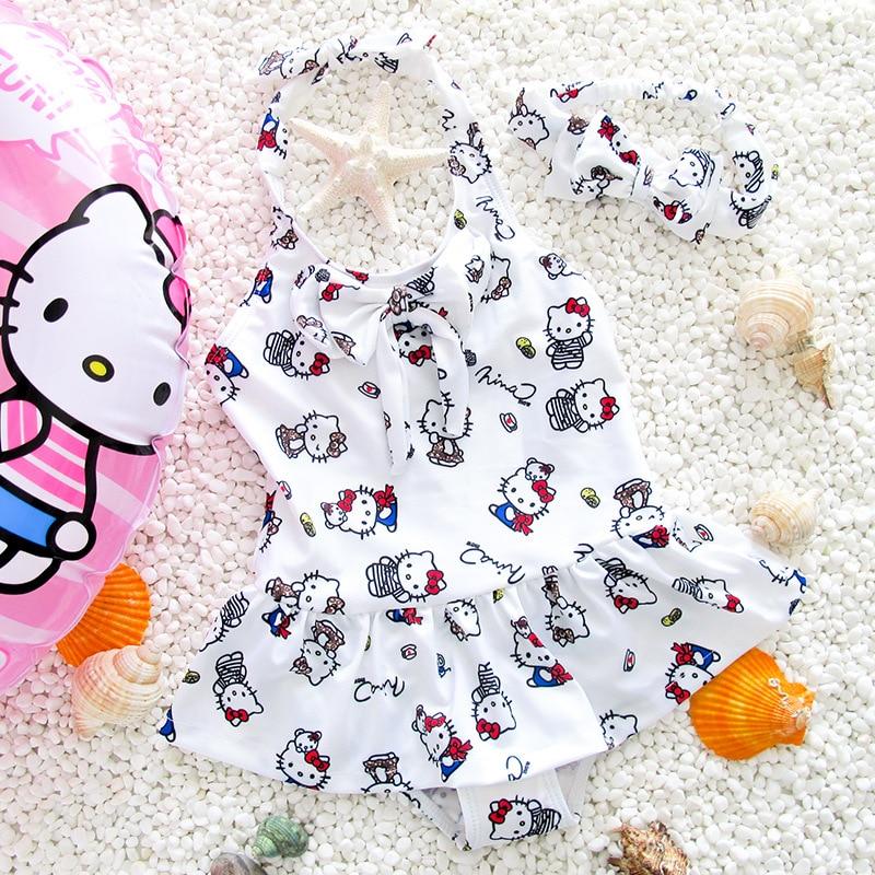 One Piece Swimsuits Girls Swimwear Beachwear Girls Swimsuit Lovely Hello Kitty Swimwear For Girls Swiming Suits G17-k2