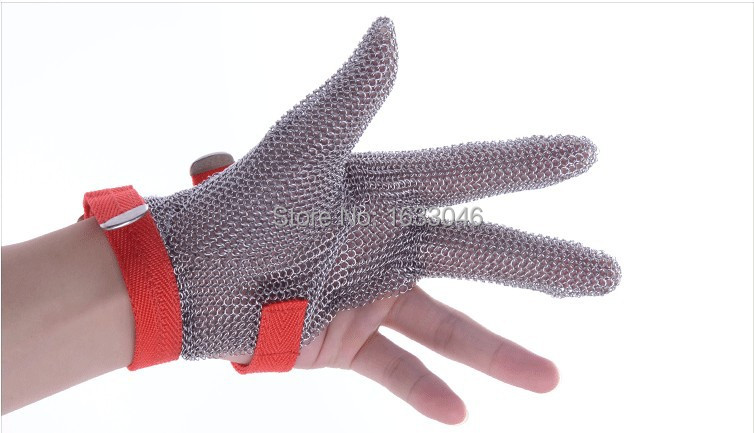 Free shipping three finger finger protect chain mail cast for Protection inox cuisine
