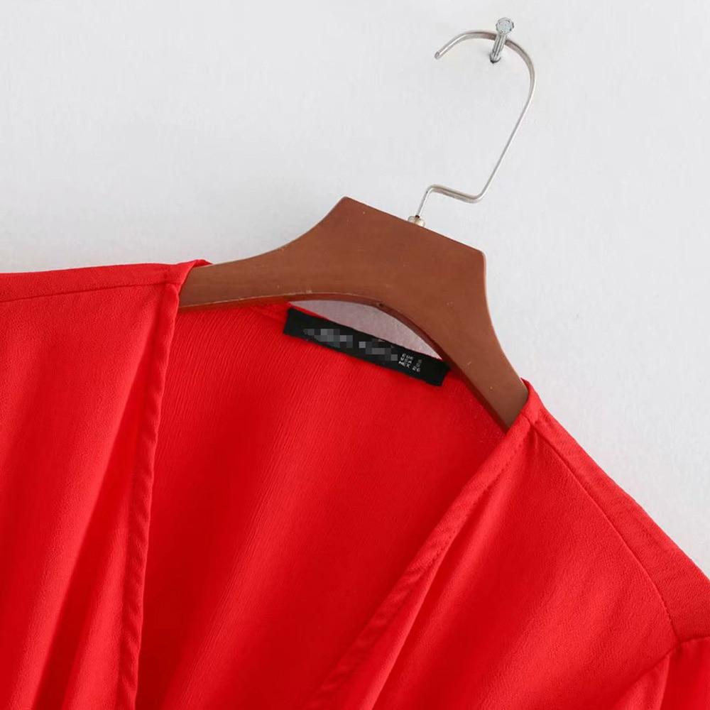 Red Nouveau Robes Haute Stretch Ltd1198164 Taille Elastique Boutons Manches V Femmes cou Elyb Longues Solide q6WR1gU