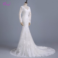 fsuzwel Long Sleeve Mermaid Wedding Dresses Court Train