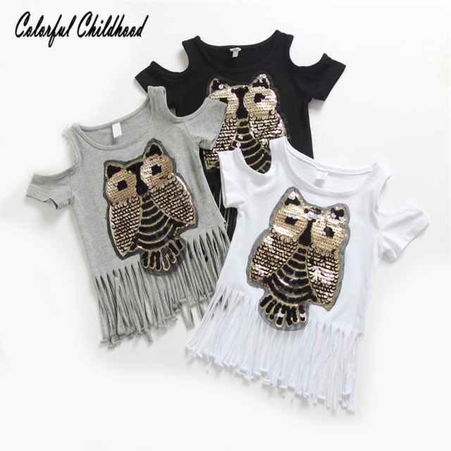 90d885f79fe1e Sweet toddler Baby Sequins Owl shirts Kids girls T shirt Short sleeve children  tassel t shirts for girl tops children clothes
