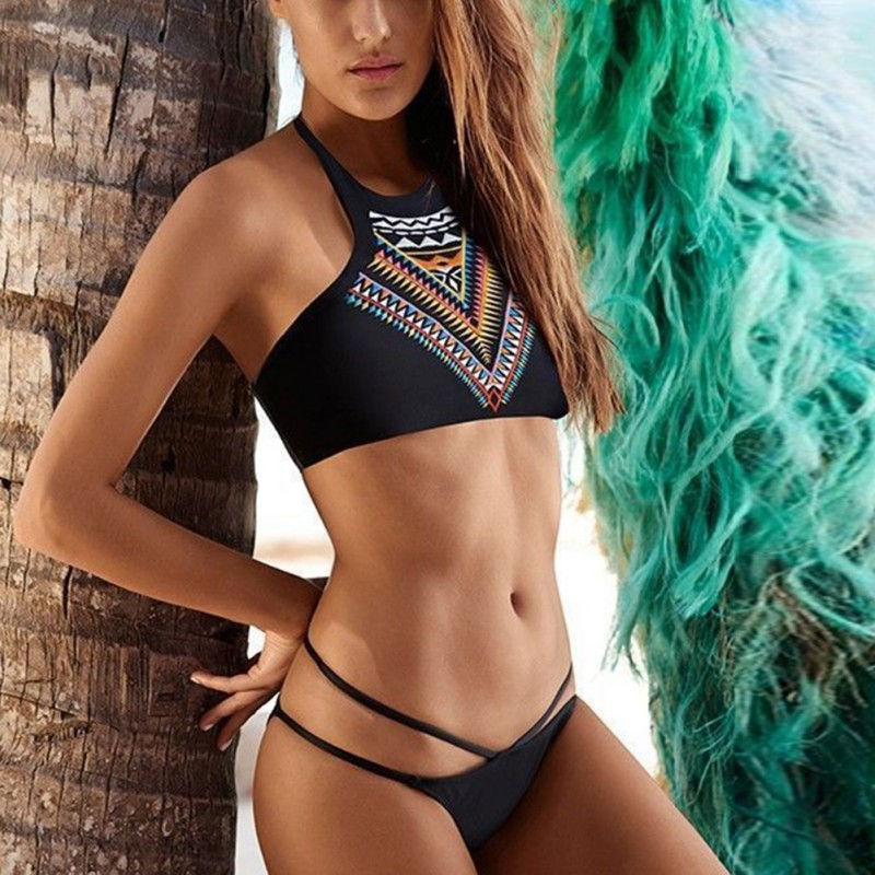 Ethnic Style Women Summer Beach Swimwear Slim Print Swimsuit Bathing Suit Sexy Bikinis Two-Piece Suits Push up Bikini Set sexy couples swimwear print floral bikinis set hot lovers beach spa swimsuit women three piece push up bathing suits men shorts