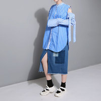 EAM Sale 2017 Autumn Fashion New Round Neck Long Sleeve Hollow Strapless Shirt Blue Strips
