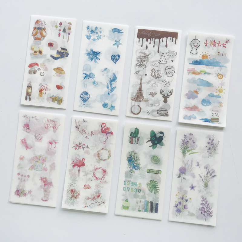 6 Sheets /Pack Kawaii Flamingo Cactus Floral Cloud Stickers Adhesive Craft Decor Notebook Diary Decorative Student Stationery