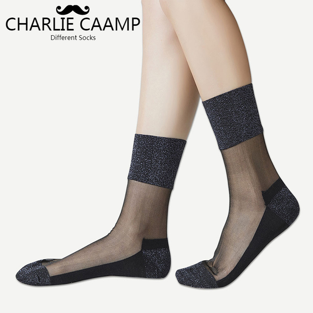 d3a2eb3806ec9 US $1.76 35% OFF|CHARLIE CAAMP 2018 Spring And Summer New Nylon Sexy Gold  And Silver Trend Of The Wild Series Of Ladies Crystal Lace Socks 6005-in ...
