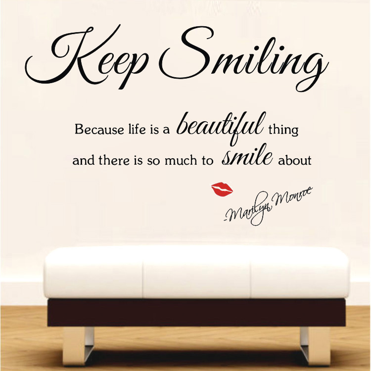 Sexy Lips Marilyn Monroe Keep Smiling Life Beautiful Wall Stickers Decals Decor