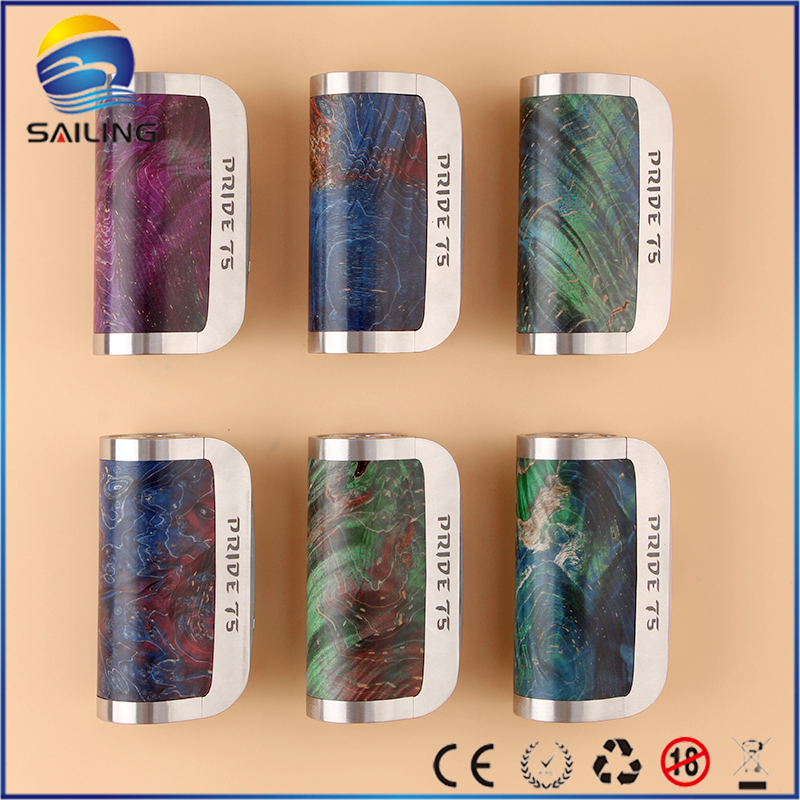 Athena PRIDE 75W box mod made with stabilized wood and stainless Steel DNA 75 chip electronic cigarette