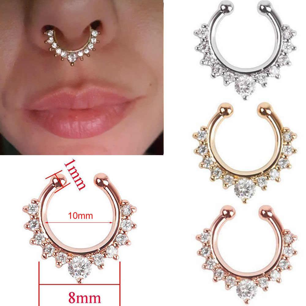 1 pc 10mm zircão falso septo piercing nariz anel aro nariz para menina homens falso corpo clipe anéis não corpo jóias não-perfurado
