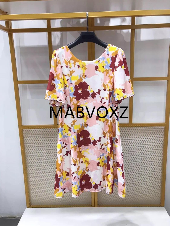 Women Short Sleeve Flower Print Silk Mini Dress 2019 New Summer O Neck Wavy Cuff Sweet