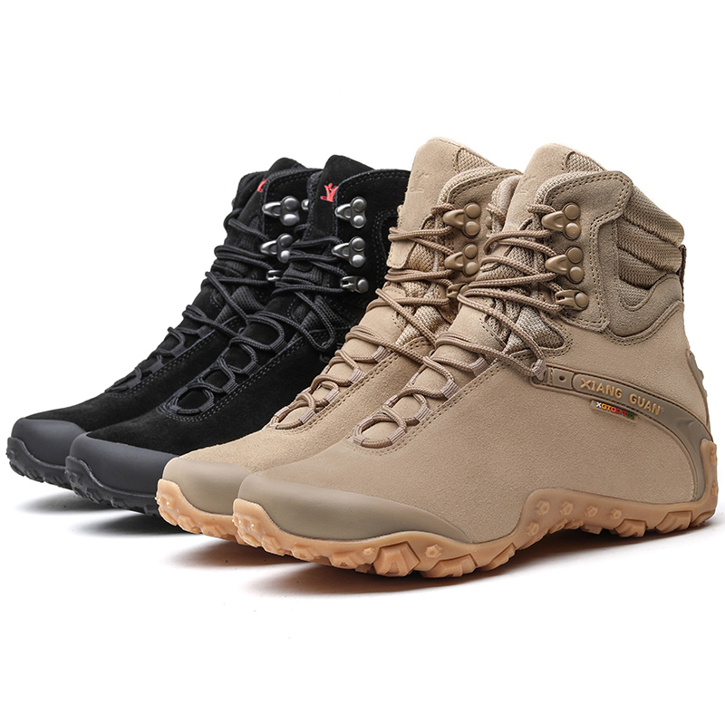 Mens Outdoor High-top Suede Tactical Combat Non-slip Boots Waterproof Breathable Lace-up Climbing Hiking Shoes Men Trekking Shoe sale outdoor sport boots hiking shoes for men brand mens the walking boot climbing botas breathable lace up medium b m