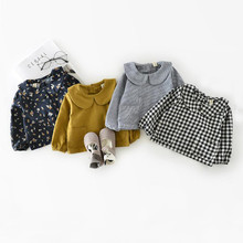 Милые блузки для маленьких девочек; детская рубашка с длинными рукавами и отложным воротником; хлопковая детская одежда; одежда для малышей