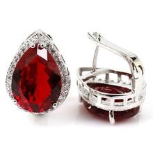 Необычные 18x13 мм красные кровяные Рубины CZ женские свадебные серебряные серьги 22x16 мм